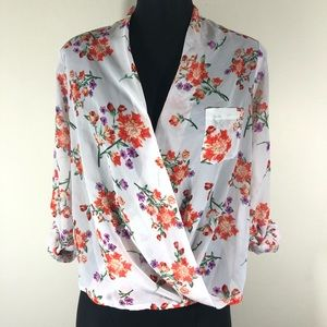 Active USA Small Floral Open Front Cowl Shirt